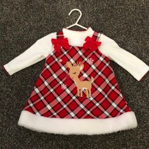 Baby girl Christmas outfit with 2 stockings